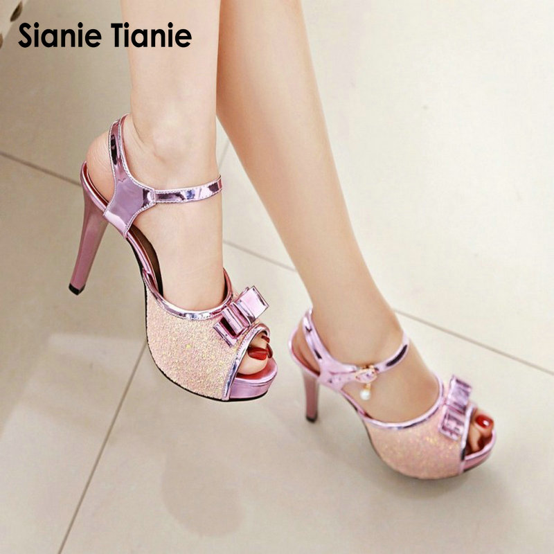 Detail Feedback Questions about Sianie Tianie summer thin high heels  glitter sandals woman summer shoes bling gladiator platform sandals  slingback size 44 ... ac076179edae