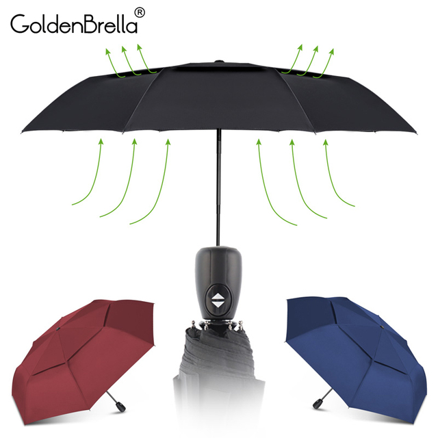 Women Umbrella Wind Resistant Double Layer Umbrella Rain Women Automatic 3Folding Waterproof Outdoor Business Gifts Umbrella Men