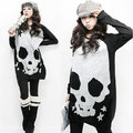Women Autumn Tee Loose Shirt Round Neck Full Batwing Sleeve Skull Heads Prints Fashion Long Pullover T-shirt H9