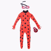 Lady Bug Kids Halloween Girls Miraculous Ladybug Girls Clothing Sets Costumes Ladybug Cosplaay Spandex Full Lycra
