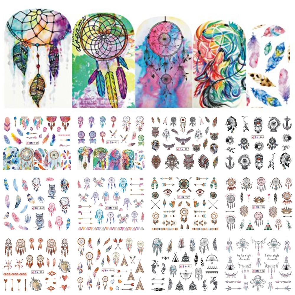12 projetos coloridos decalques de água do prego slider sonho apanhador pena harajuku coruja unhas envolve tatuagem decoração acesso BEBN901-912