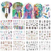 12 dessins colorés ongles eau décalcomanies curseur capteur de rêves plume Harajuku hibou ongles enveloppes tatouage décoration accès BEBN901-912