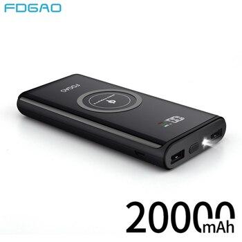 e96d39e73 FDGAO banco de energía 20000 mAh QI cargador inalámbrico teléfono móvil batería  externa USB Powerbank para