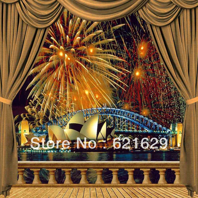 US $24 99 |Fireworks In Sydney 8'x8' CP Computer painted Scenic Photography  Background Photo Studio Backdrop ZJZ 820-in Background from Consumer