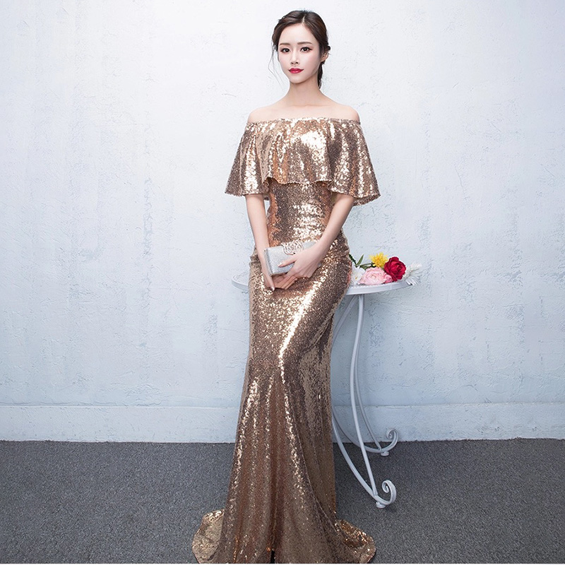 D008 ruffles neck off the shoulder floor length rose gold sequined dresses  IMG 2579 IMG 2501 IMG 2503 IMG 2504 IMG 2506 IMG 2575 IMG 2576 IMG 2577  IMG 2578 6dc516a9b44c