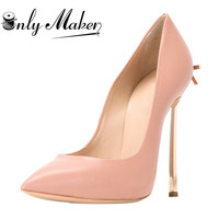 Onlymaker Women's Sexy Pointed Toe12CM Elegant Thin High Heels Stiletto With Bowknot Pumps Shoes plus US15