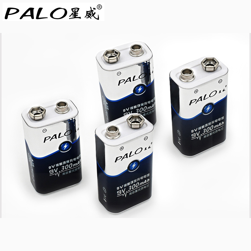 PALO HOT Low price and high quality 4pcs 6LR61 6F22 006p 9V nimh 300mah rechargeable battery for instruments or battery packs