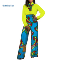Office Women African Clothing Print Top Shirt and Pants with Ties Bazin Riche 2 Pieces Pants Sets Dashiki African Clothes WY3521