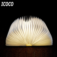 ICOCO Innovative USB Rechargeable LED Foldable Wooden Book Shape Desk Lamp Nightlight Booklight For Home Decor