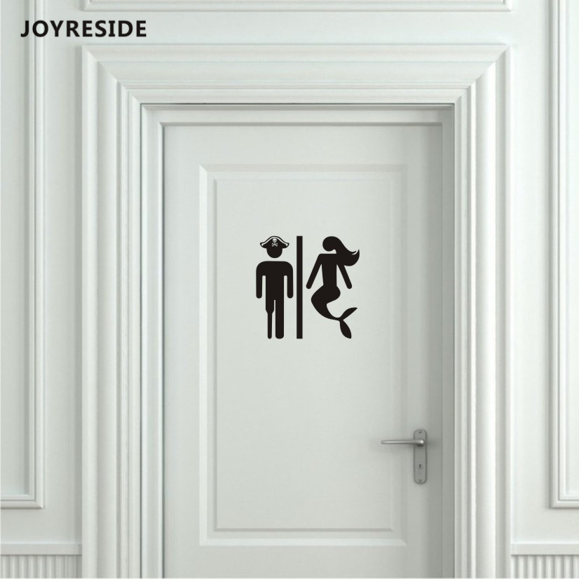 JOYRESIDE Unisex Restroom Bathroom Toilet Door Wall Decal Vinyl Sticker Decor Pirate and Mermaid Art Home House Decoration XY080