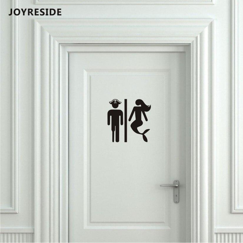 JOYRESIDE Unisex Restroom Bathroom Toilet Door Wall Decal Vinyl Sticker Decor Pirate and Mermaid Art Home House Decoration XY080