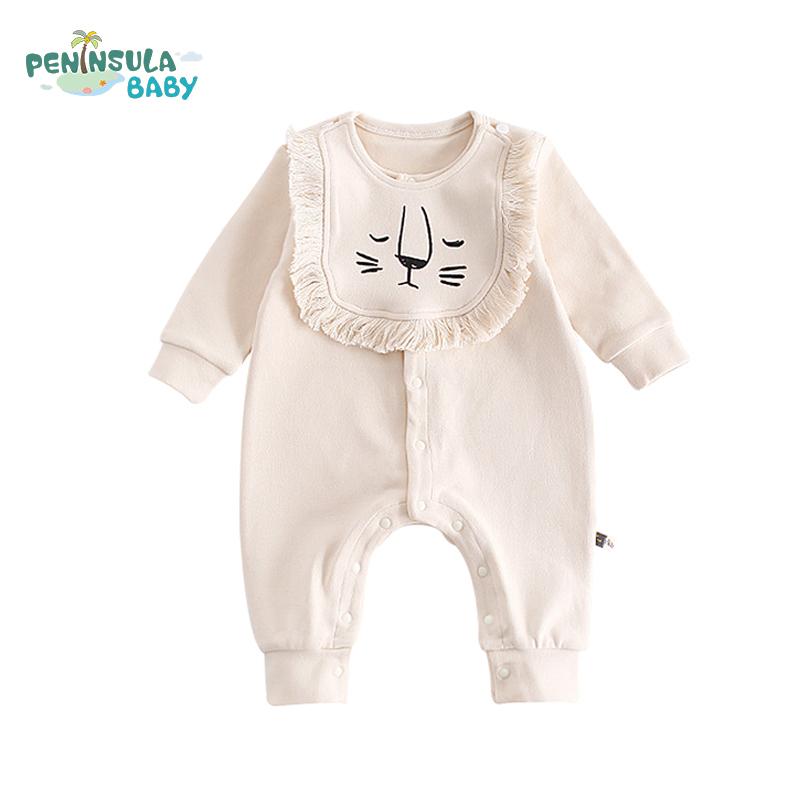 Newborn Long Sleeve Jumpsuits Cute Casual Cartoon Lion Bibs Baby Rompers Children Clothing Fashion Girl Boy Cotton Baby Product strip baby rompers long sleeve baby boy clothing jumpsuits children autumn clothing set newborn baby clothes cotton baby rompers