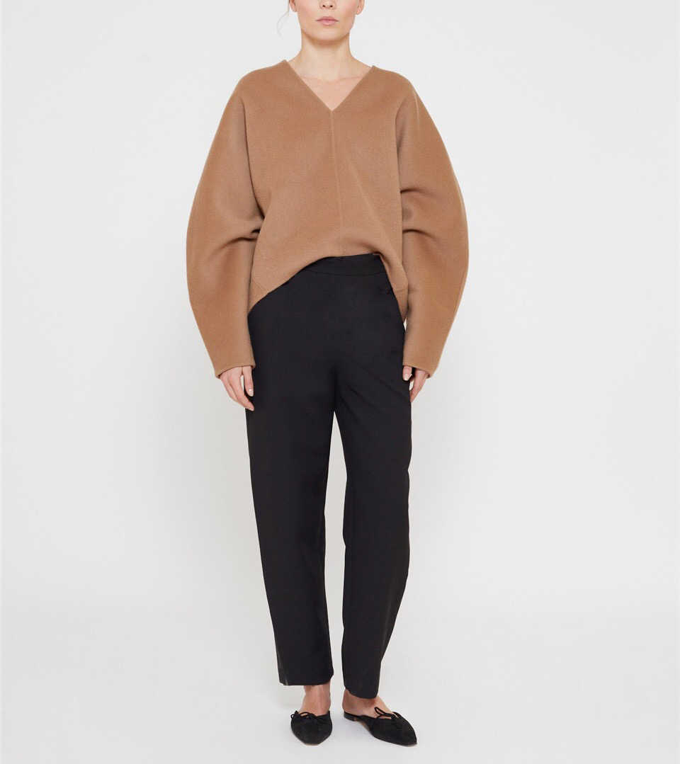 Woman Wool Blend Rennes sweater Camel/Black V-neck Drop Shoulder Long wide sleeves Fashion Oversized Top