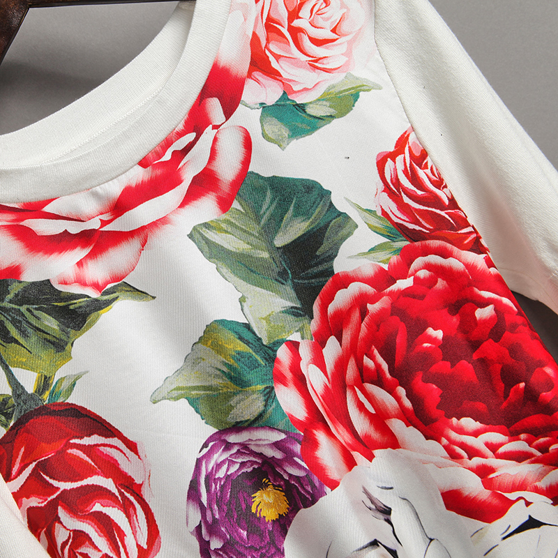 2018 New European Print Flowers Women Sweater High Quality Spring Summer Short Sleeve O_neck Slim Fashion Female Pullovers