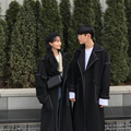 Spring and autumn long style over the knee couples wear <font><b>trench</b></font> coat men and women's coats with a loose black.