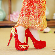 Classic Chinese Red High Heel Wedding Shoes Wear Cheongsam Pumps Golden Flowers Beads Round Toe for Bride Party Nightclub Girls
