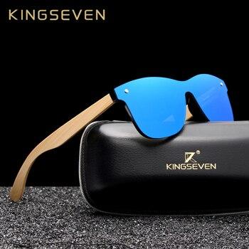 b9d336ca2d KINGSEVEN 2019 de lujo diseño Vintage de bambú gafas de sol de madera hecho  a mano polarizadas espejo gafas de moda gafas caja de madera