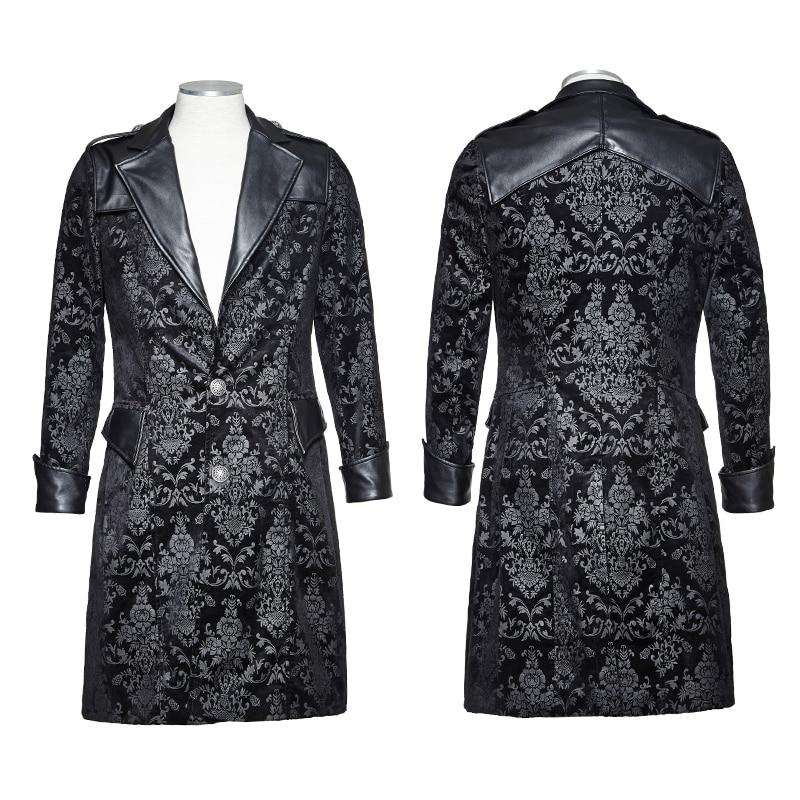 Steampunk Hiver Mode Hommes Avec Motif Floral Militaire Style Long Manteau Gothique Beau Noir à manches longues Chaud Coupe-Vent