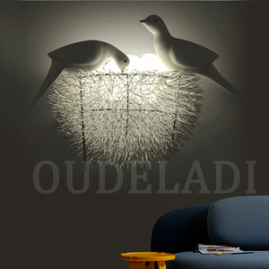 Image 4 - Bird Nest LED Wall Lamp Children Bedroom Study Room Restaurant Decoration Novelty Wall Light With 3D Birds Art Lamp