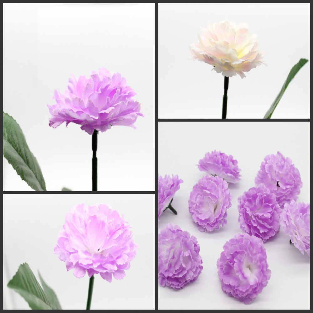 100 Pieces 2.4 Inches Rose Artificial Silk Flower Heads Carnations ...