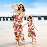 Wear Dresses Summer Beach Mother Daughter Family Dress Female Fashion Colorful Active Cute Printing Floral Chiffon