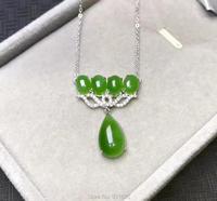925 Naturalny Zielony HeTian Yu Gem Inlay Dangle Projekt Szczęście Wisiorek Naszyjnik + certyfikat + Łańcuch Fine Jewelry