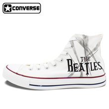 White Sneakers Man Woman Converse Chuck Taylor The Beatles Design Custom Hand Painted High Top Canvas Shoes Men Women