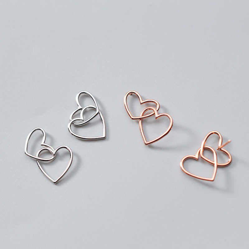 Inzatt Nyata 925 Sterling Silver Minimalis Hollow Jantung Drop Anting-Anting untuk Wanita Mawar Emas Warna Elegan Fashion Perhiasan Hadiah