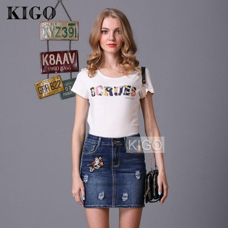 b6f53a0a6a0 Aliexpress.com   Buy KIGO Summer Women Short Jeans Skirt High Waist Vintage  Bird Embroidered Mini Skirt Sexy Bodycon Ripped Skirt Saia KH0566H from  Reliable ...