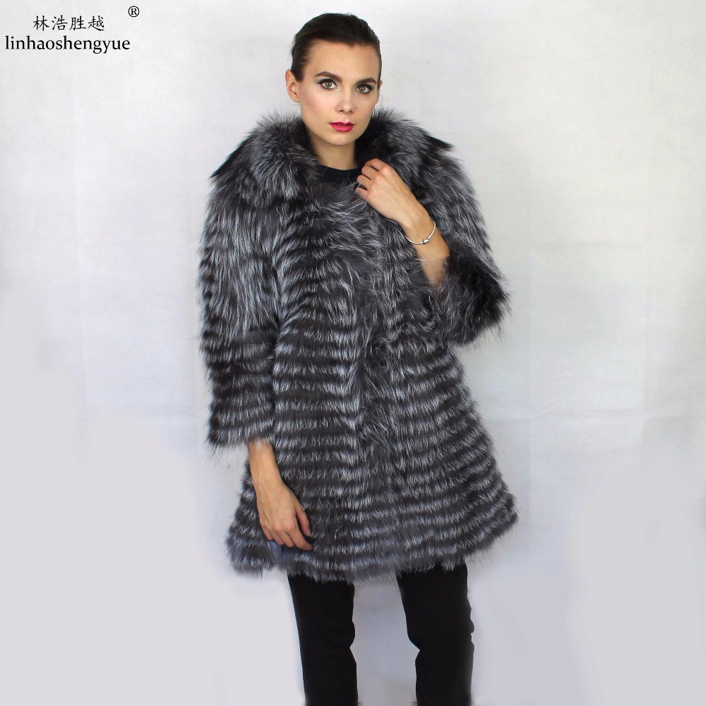 Linhaoshengyue Fox lithium plus long 90 cm long fur coat lapels,real  silver fox fur coat ,winter warm women