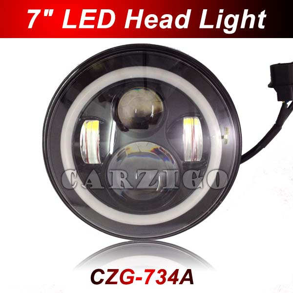ФОТО CZG-734A 1pc 7 inch LED Headlamp with high low beam White+yellow Halo ring 7
