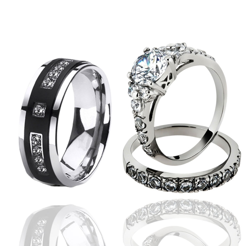 European And American Fashion Zircon Silver Colour Couple Wedding Rings For Women And Male Fashion Rhinestone Engagement Ring(China)