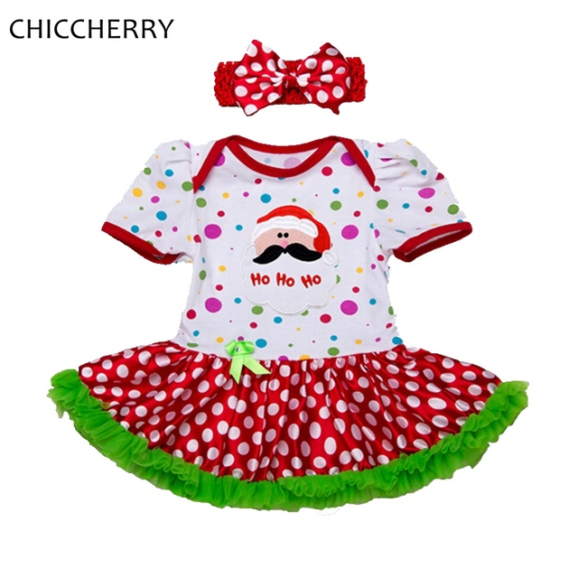 Santa Claus Baby Girl Clothes Christmas Costume Polka Dots Girls Dresses Headband Vestido Infantil Robe Bebe Fille Infant Dress