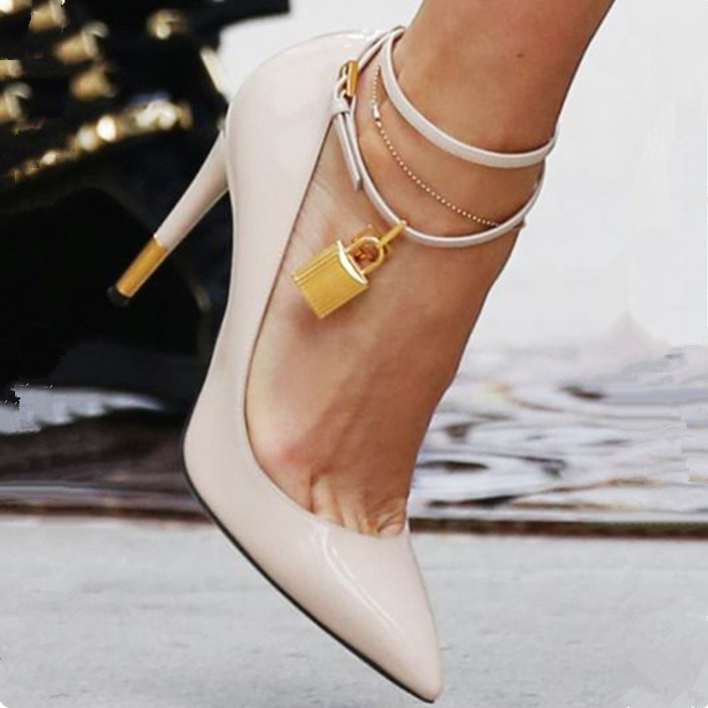 Bombas Lujo Tacones Stiletto Toe Feminino café Diseñador Boda Mujer Chic Sapato Gold Lock as Pic Altos Mujeres Strap As Ankle Pic De Zapatos Pointy ExZw8X
