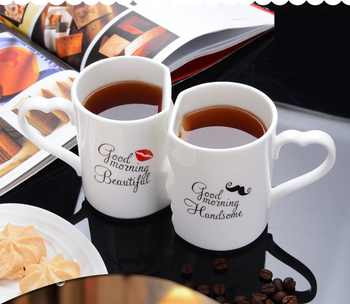 OUSSIRRO 2Pcs/Set Couple Cup Ceramic Coffee Kiss Mug Creative Valentine's Day Wedding Birthday Gift - DISCOUNT ITEM  16% OFF All Category
