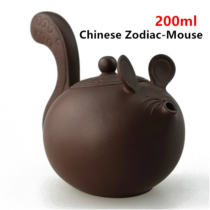 Hot!!! Purple Clay Tea pot Chinese Zodiac Ceramic Teapot Drinkware KungFu Tools Mouse Zisha Tea Pot Set 200ml Tea Ceremony Gift