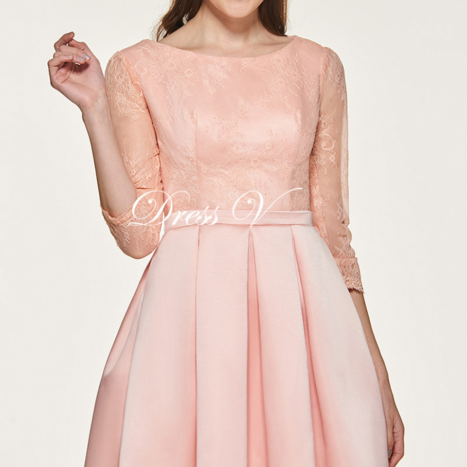 Dressv Pink Bridesmaid Dress Three Quarter Sleeves Lace Scoop Neck ...
