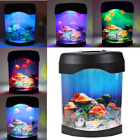 New Retro Aquatic Mini Jelly Fish Tank LED Water Lamp Mood Night Light Gift LXY9