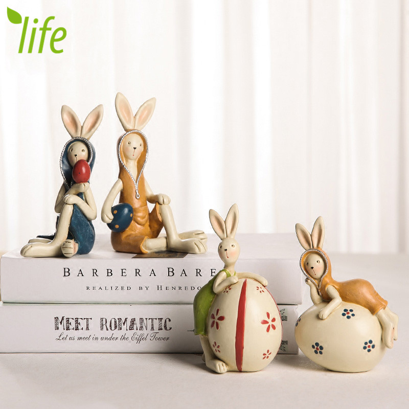 Easter Rabbits With Egg Lovely Lover Bunnies Festival Decoration Gift Home Decor Figurines Artware 1 Piece