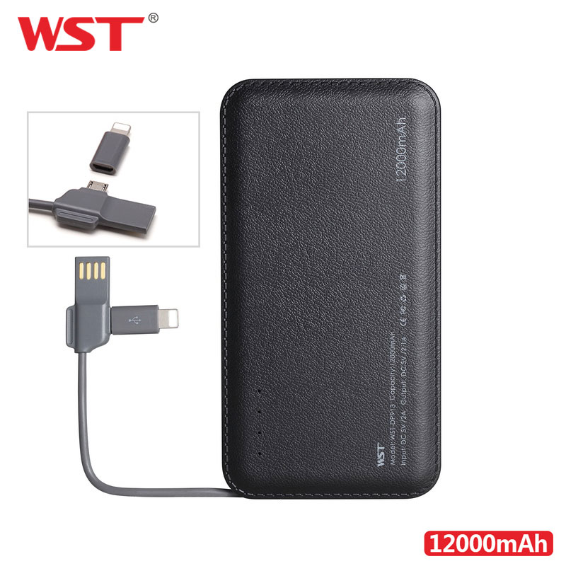 WST 12000mAh High Capacity Power Bank Built-in Cable Portable Battery Charger Li-Polymer Mobile Portable Battery Pack For IPhone