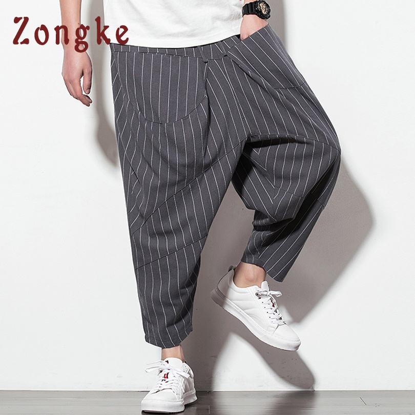 Zongke Ankle-Length Streetwear Cross-Pants Men Jogger Hip Hop Trousers Men Pants Joggers Sweatpants Harem Pants Men 2019 Spring