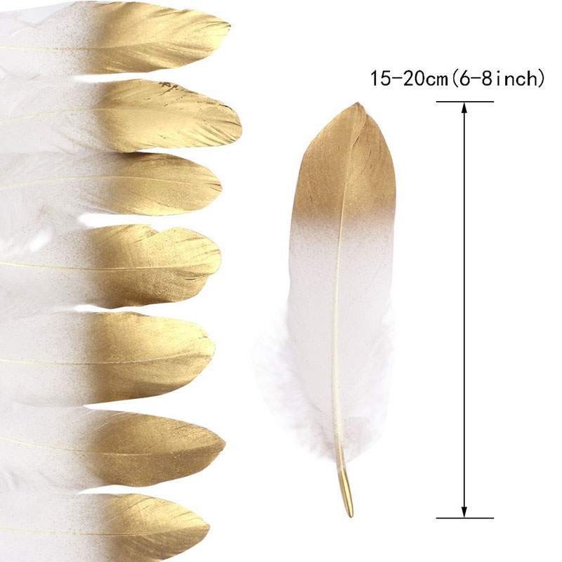 New Glitter Gold Dipped Natural White Duck Goose Feathers Decor Feathers for crafts DIY  ...