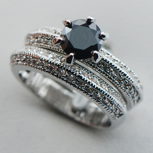 Black Onyx 925 Sterling Silver Top Quality Fancy Jewelry Engagement Wedding Two Ring Size 6 7