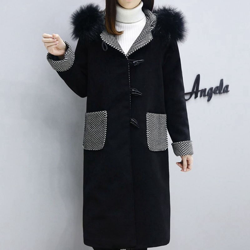 À Black Automne Veste Capuchon Fourrure Laine Col De S688 Plus Nouveau Femelle Mode Longue Hiver La Femmes Taille Manteau OnvtqgU