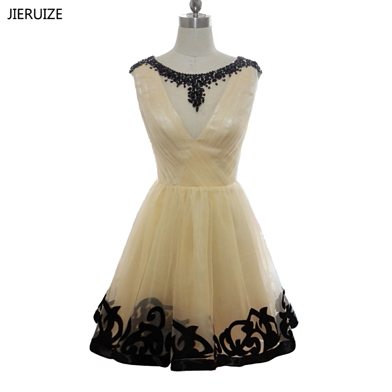 JIERUIZE Champagne Tulle Black Beaded Short   Prom     Dresses   A-line Short Cocktail Party   Dresses