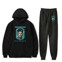 Hot Sale BlueFace Autumn black Hoodies Sweatshirt+Recreational Sweatpants Printed Rapper BlueFace casual Sport and Leisure suits
