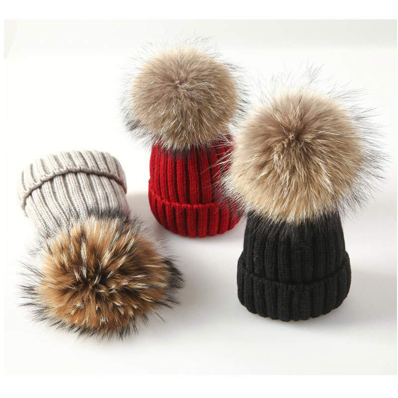 2019 Winter fur pompom hat for Kids Knit   Beanie   winter baby hats High quality hat for children fur Pom Pom Hats for girl and boy