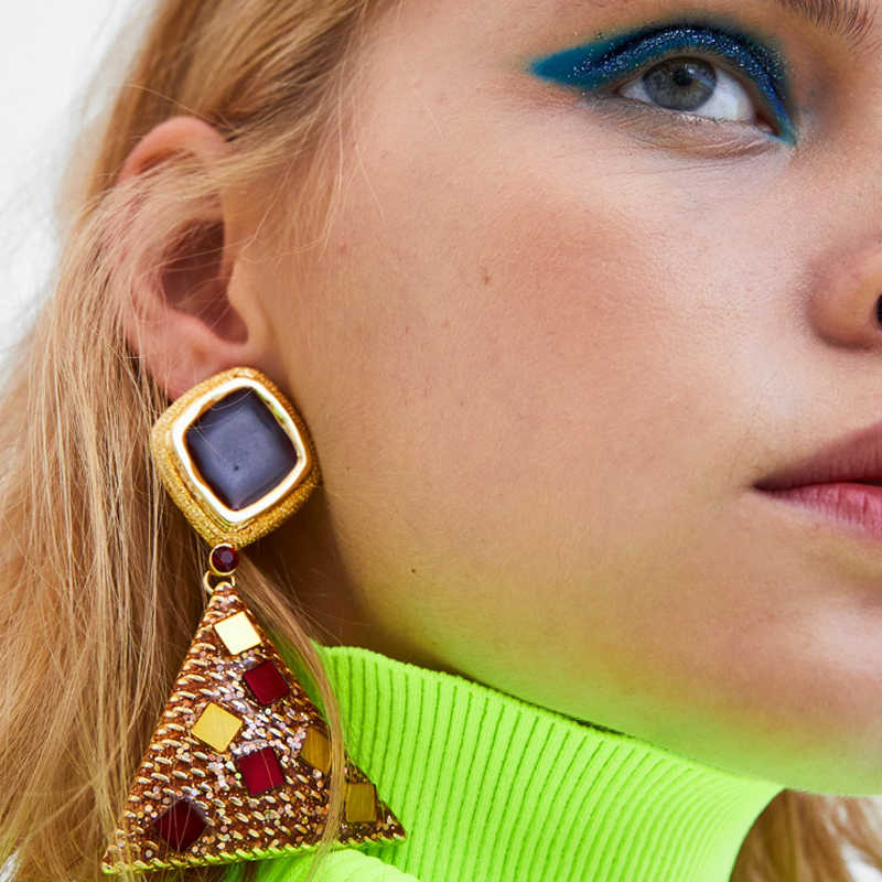 Girlgo Dangle Earrings for Women Trendy Brand Crystal Triangle Pendientes Earrings Large Drop Earrings ZA Jewelry Party Brincos