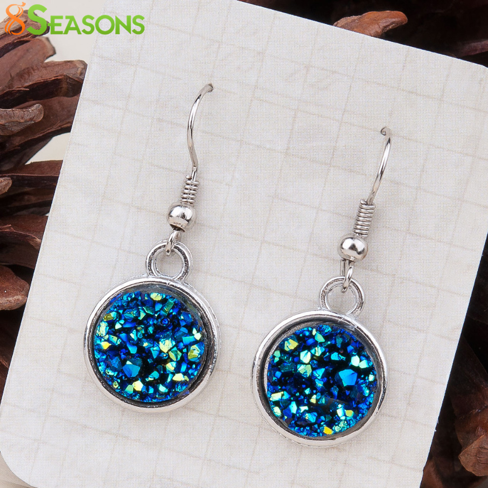 8SEASONS Resin Drusy For Women Earrings Silver Tone Color Blue AB Color / Silvery Round Party Accessories 34mm x 15mm, 1 Pair