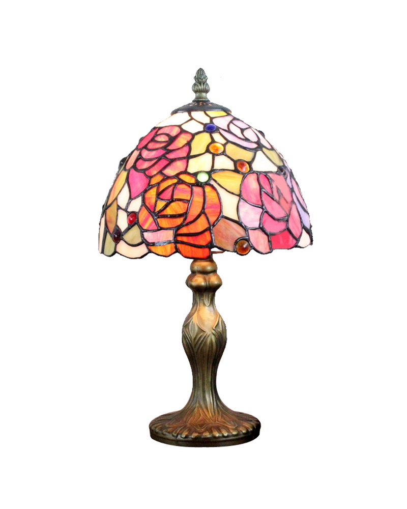 ems free table lamps handmade tiffany roses floral shade. Black Bedroom Furniture Sets. Home Design Ideas